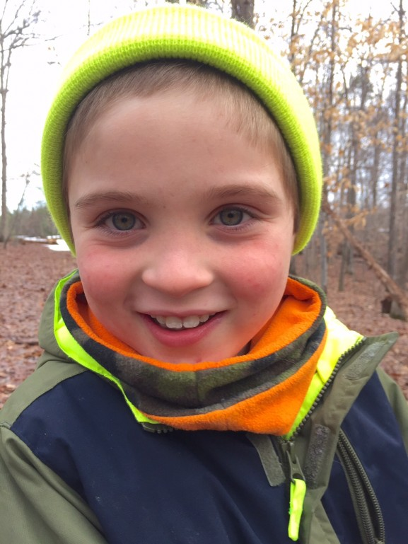 The snow FINALLY melted in our forest, and my son was thrilled to be able to take his daily walk again.